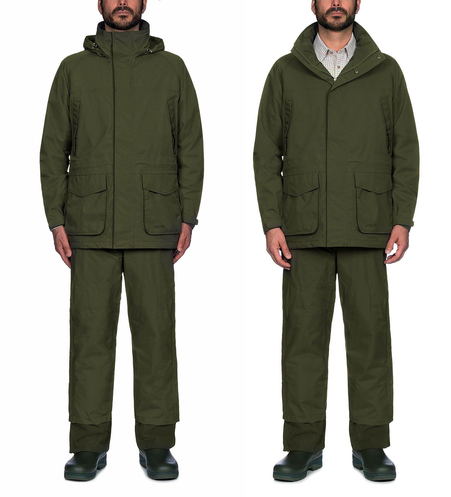 Showing Collar open and closed Musto Fenland BR2 Packaway Jacket