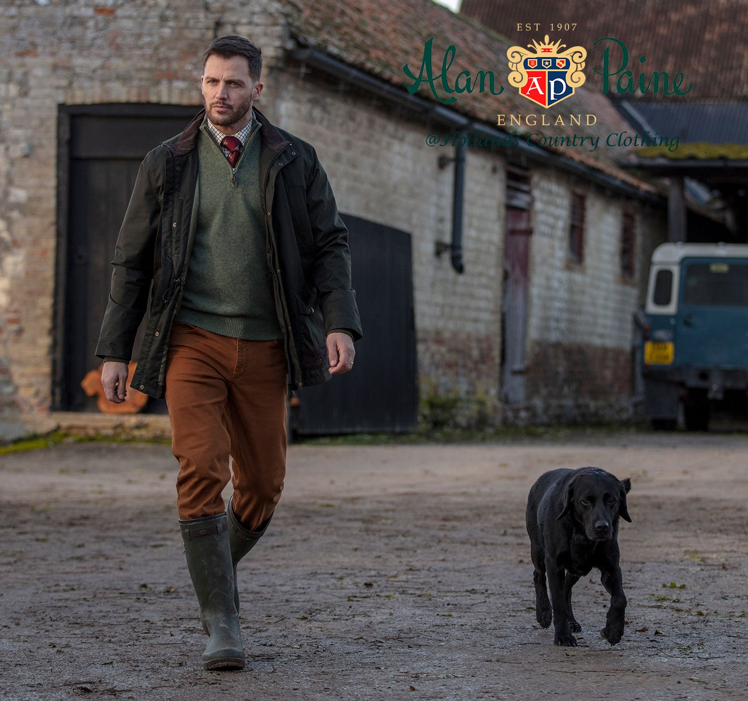 Wlaking the dog in Fernley Men's Field Coat by Alan Paine