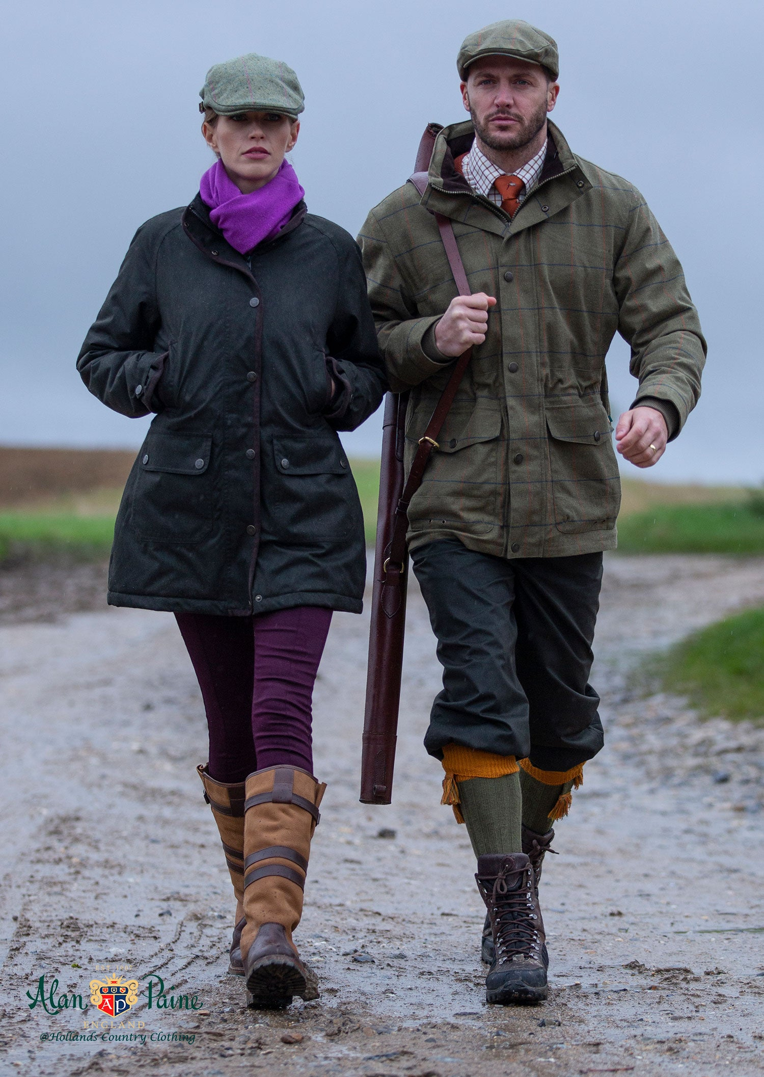 Fernley Ladies Waterproof Coat by Alan Paine with Man's Axford Tweed