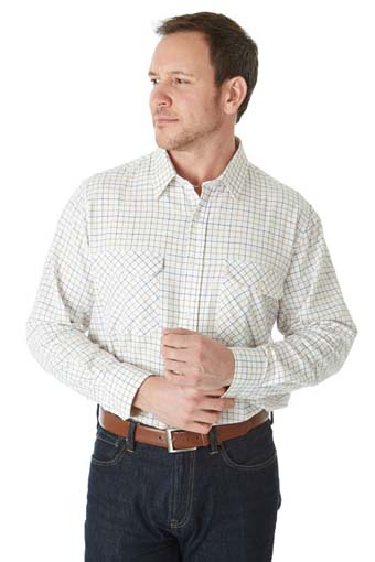 man wearing Sherwood Forest Field Tattersall Check Shirt all cotton