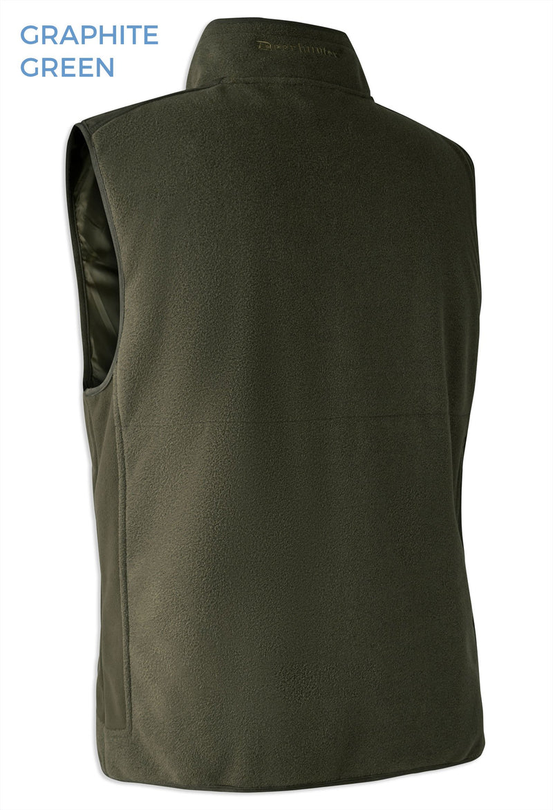 Windproof Green Deerhunter Gamekeeper Bonded Fleece Waistcoat