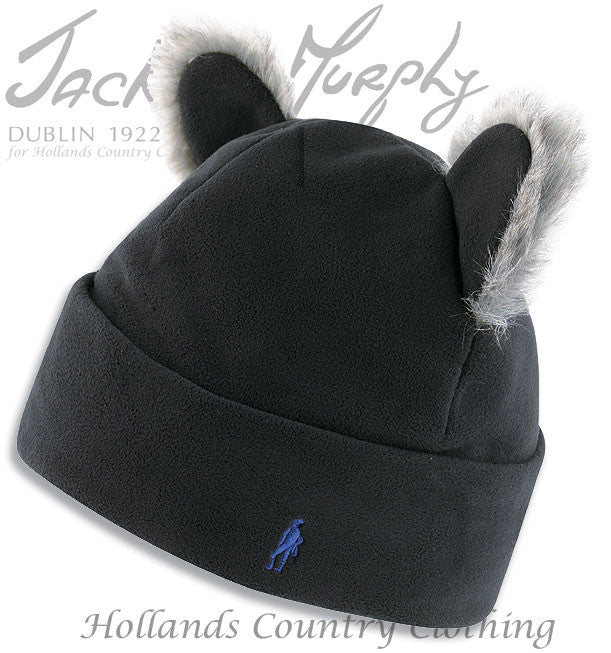 Black fleece hat with cat's ears and faux fur