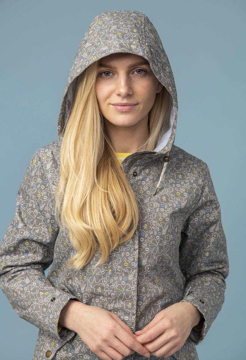 Floral Print Grey with hood up
