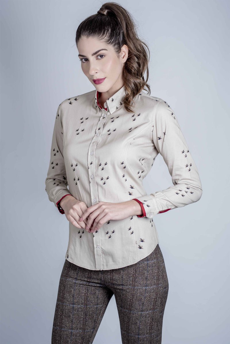 Ladies shirt showing Grouse on the wing