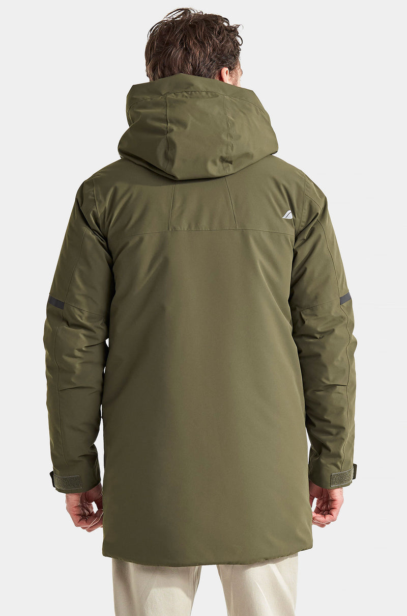 Back View stylish padded men's parka in Green