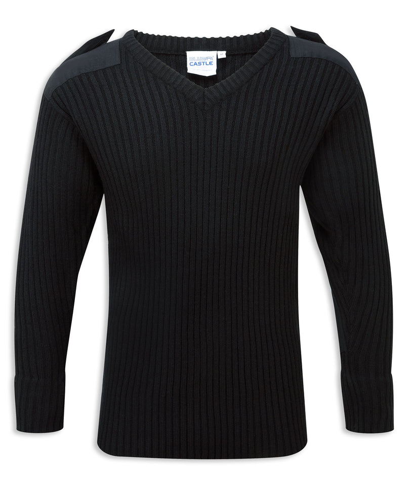 Black Vee Neck Military Style Jumper by Fortress