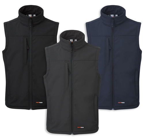 Castle Fort Breckland Softshell Bodywarmer | Grey, Black, Blue NAvy