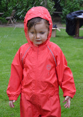 Girl in red Splashaway Rainsuit