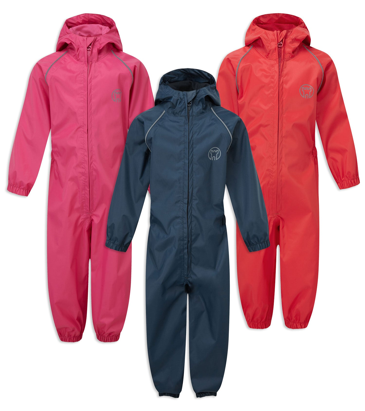Castle Fort Child's Splashaway Rainsuit | Red, Navy, Pink