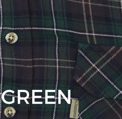 Green black and white tartan check plaid
