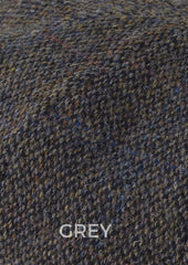 harris wool tweed in grey with blue and mauve