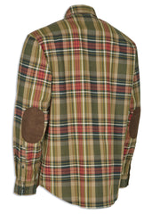 Deerhunter Gabriel Tartan Hunting Shirt with Suede Patches on elbows shown fromrear