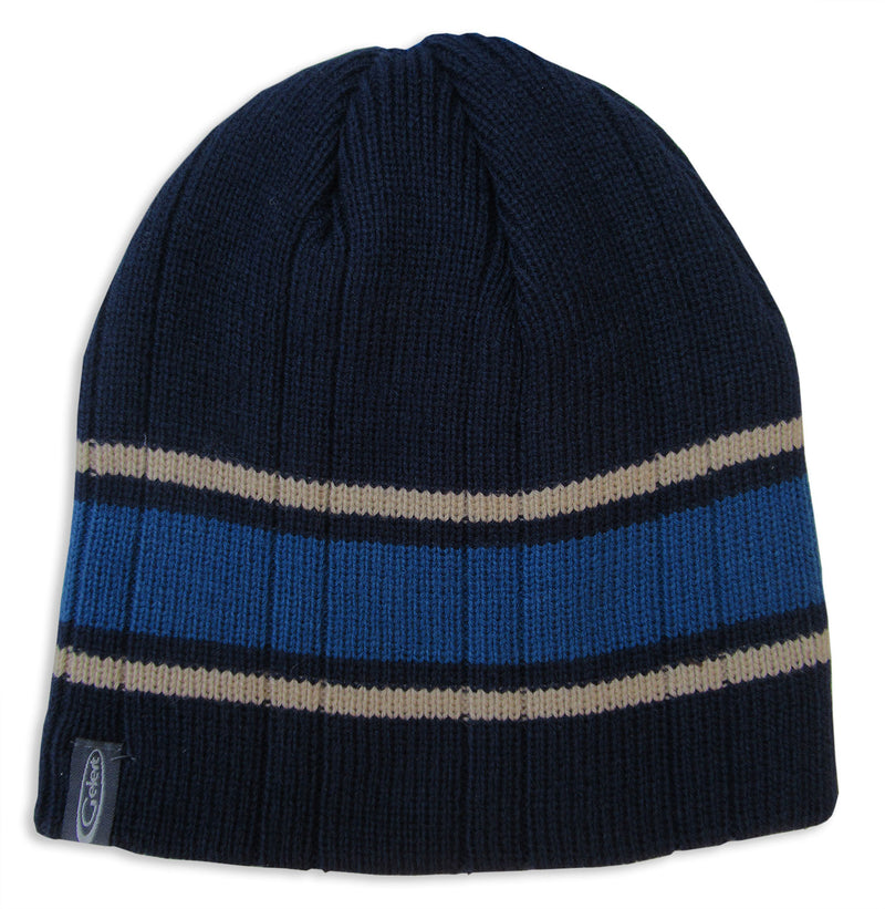 Blue Navy Gelert Men's Striped Beanie Hat