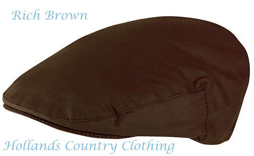 classic country Waxed Cotton Flat Cap brown