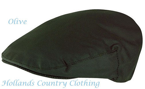 classic country Waxed Cotton Flat Cap Green