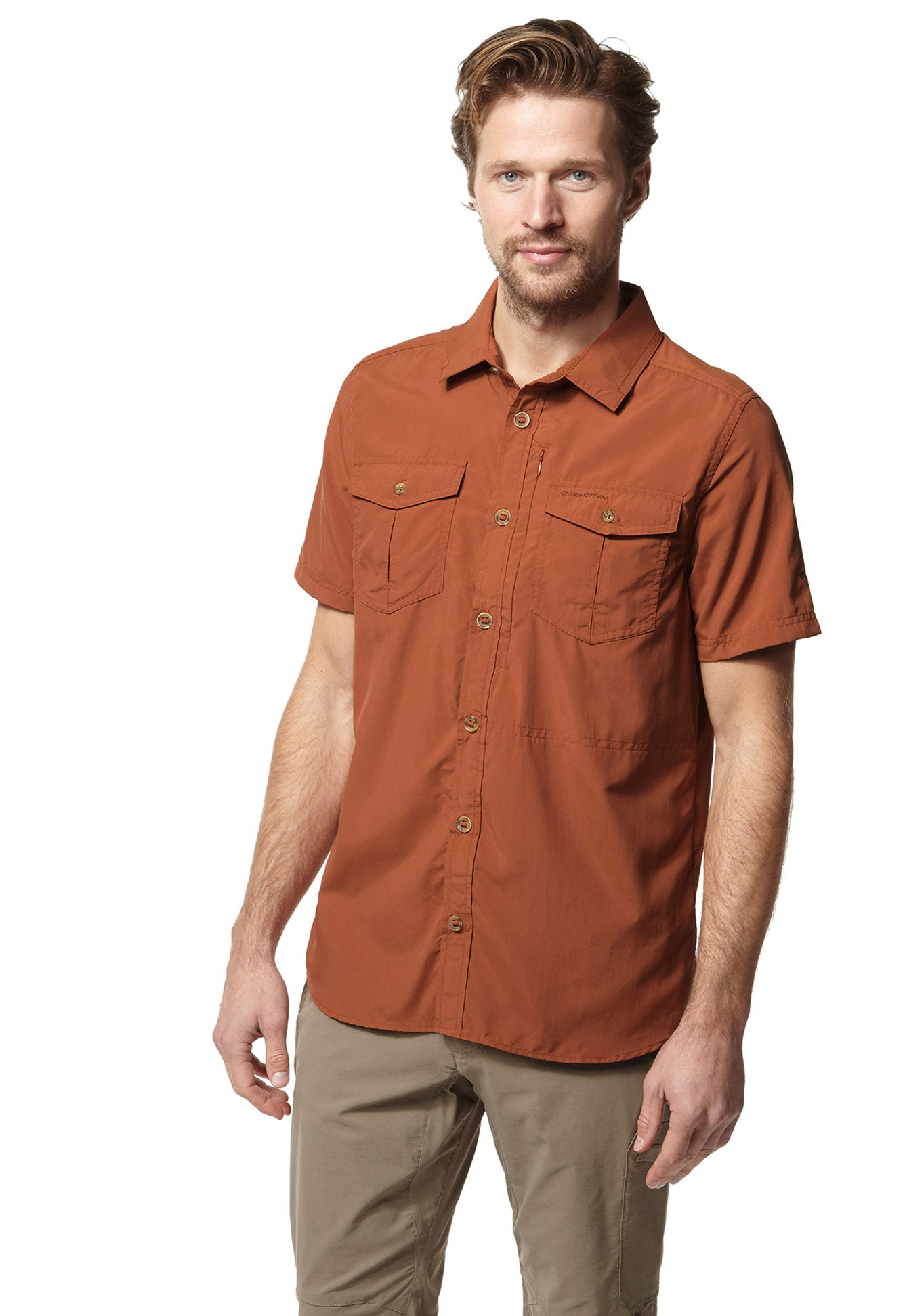 Ginger man wearing Adventure II Short Sleeve Shirt by Craghoppers