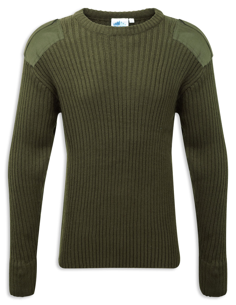 Olive Crew Neck Military Style Jumper by Fortress