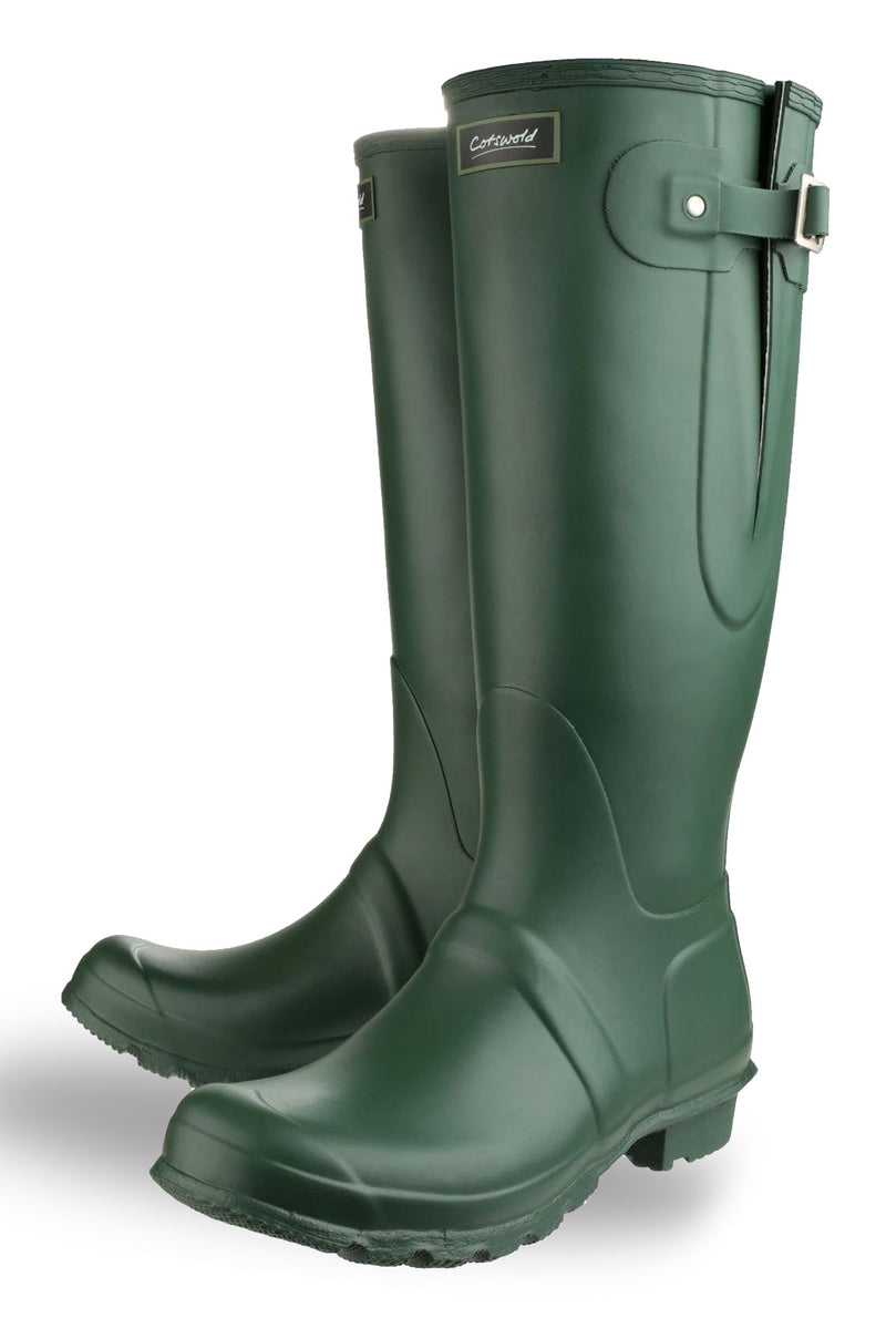 Pair of green country wellingtons with side gussets