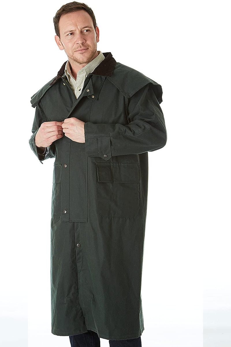 Green Waxed cotton caped long bush coat