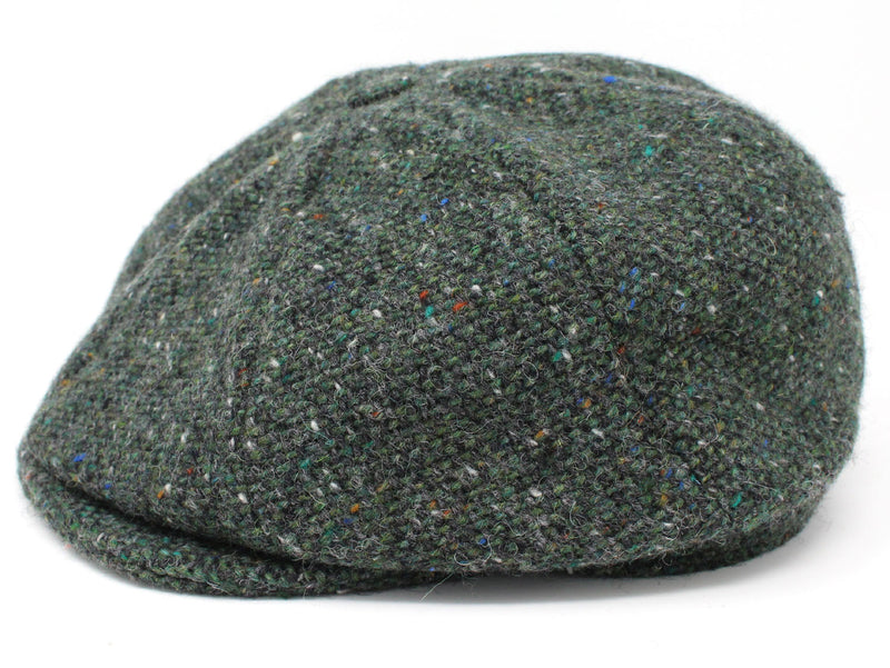 Hanna Tweed Eight Piece Newsboy Cap | Green Salt and Pepper