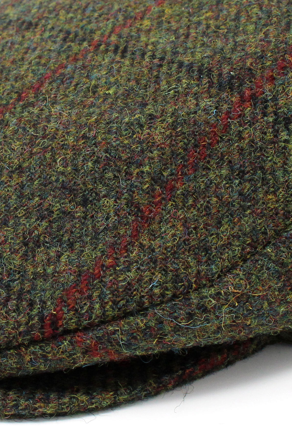 Colour; Green tweed with red over check Hanna Vintage Tweed Cap