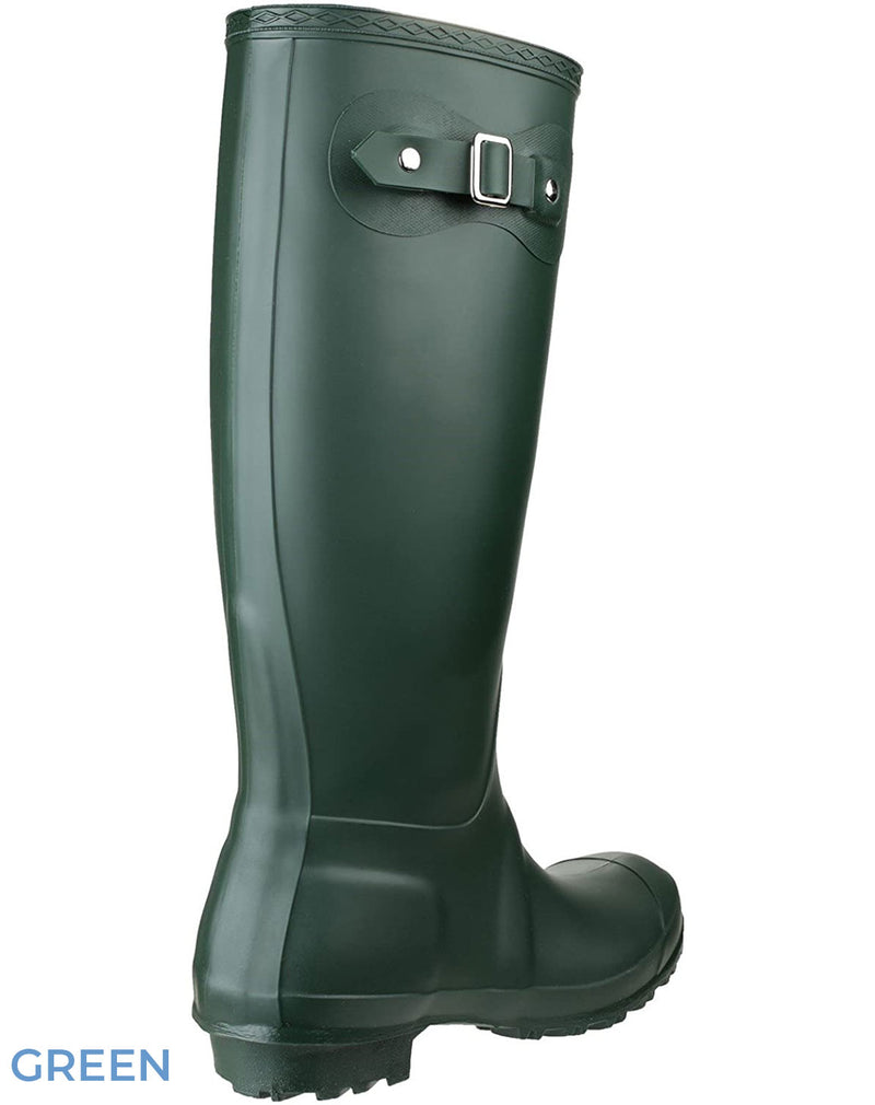 Green rear and side view Cotswold Sandringham Buckle Strap Wellingtons