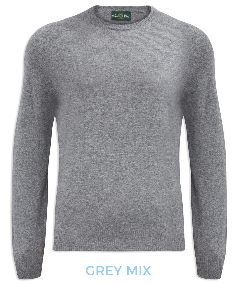 Burford Men's Lambswool Round Neck Sweater - Classic Fit grey mix