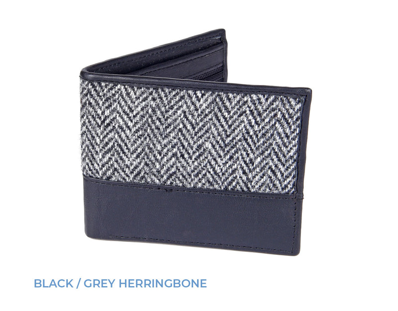 Black Grey Herringbone Tweed Heather Callum Harris Tweed Wallet