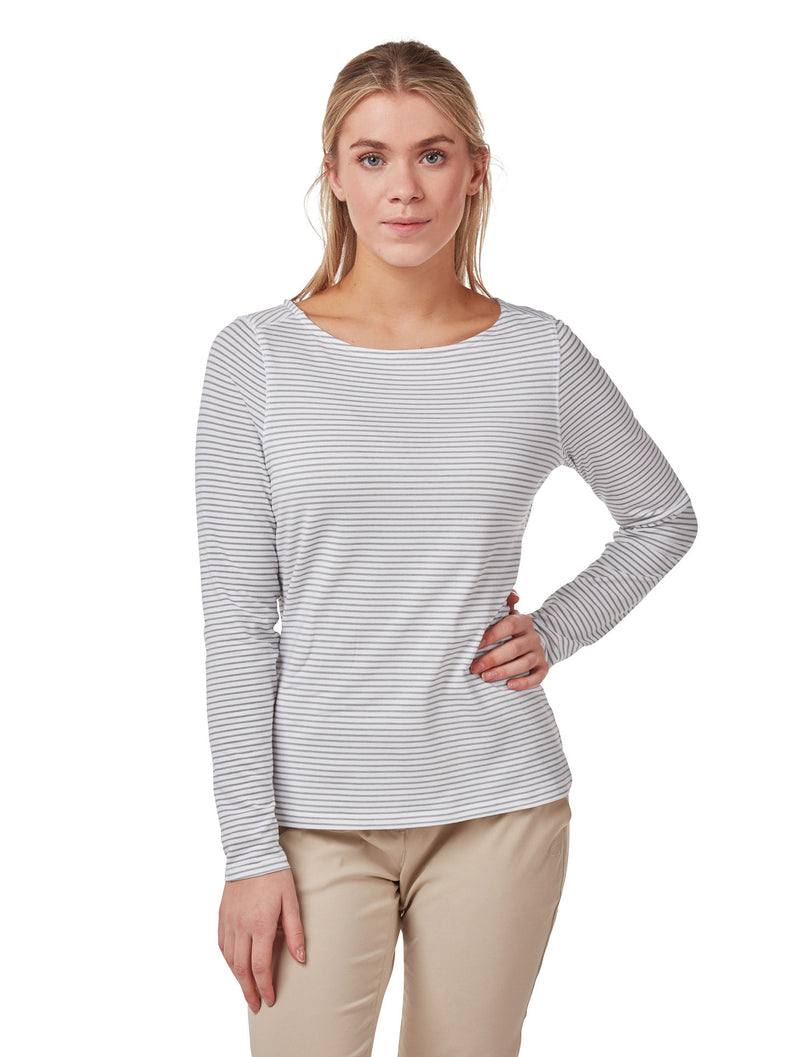 soft Grey Marl Ladies NosiLife Erin Long Sleeve Top by Craghoppers