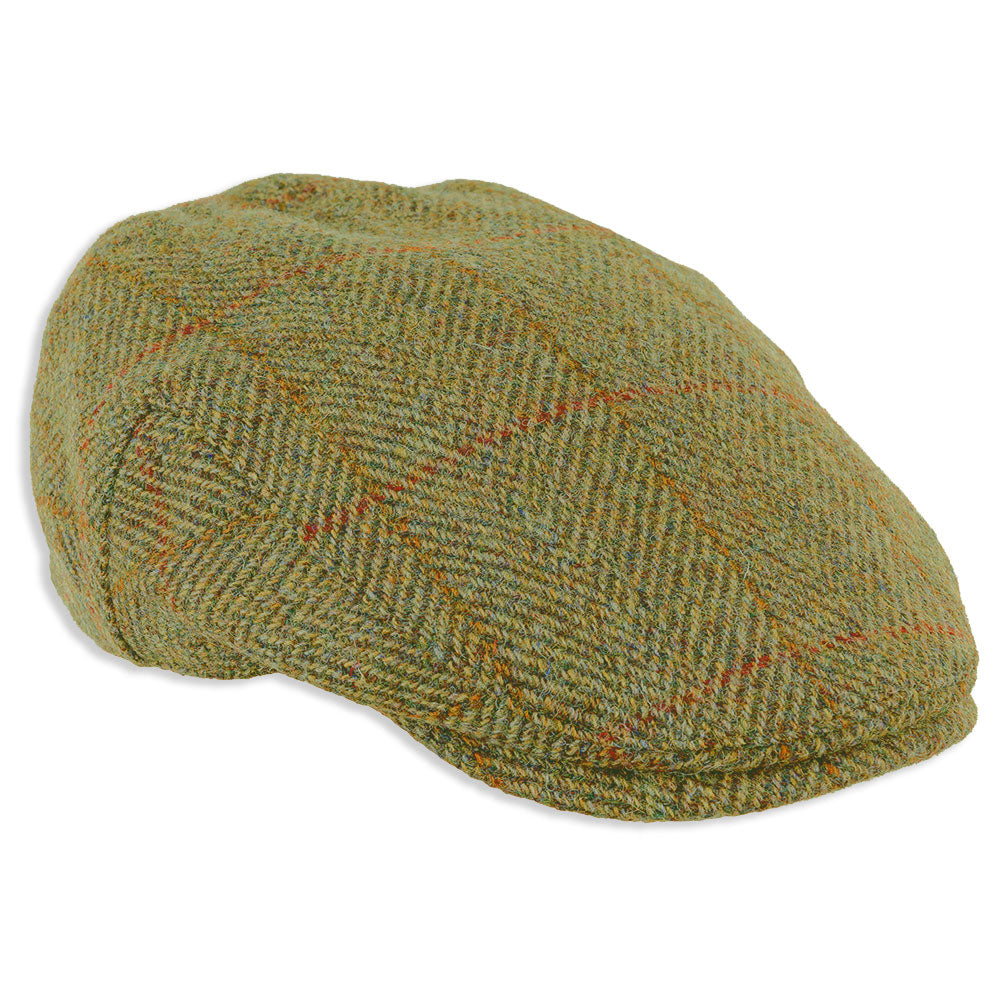 Heather Highland Harris Tweed Flat Cap | Olive/Gold