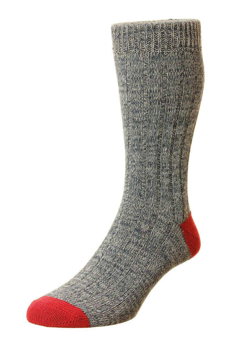Grey Red HJ Hall Ramsey Chunky Cotton Sock