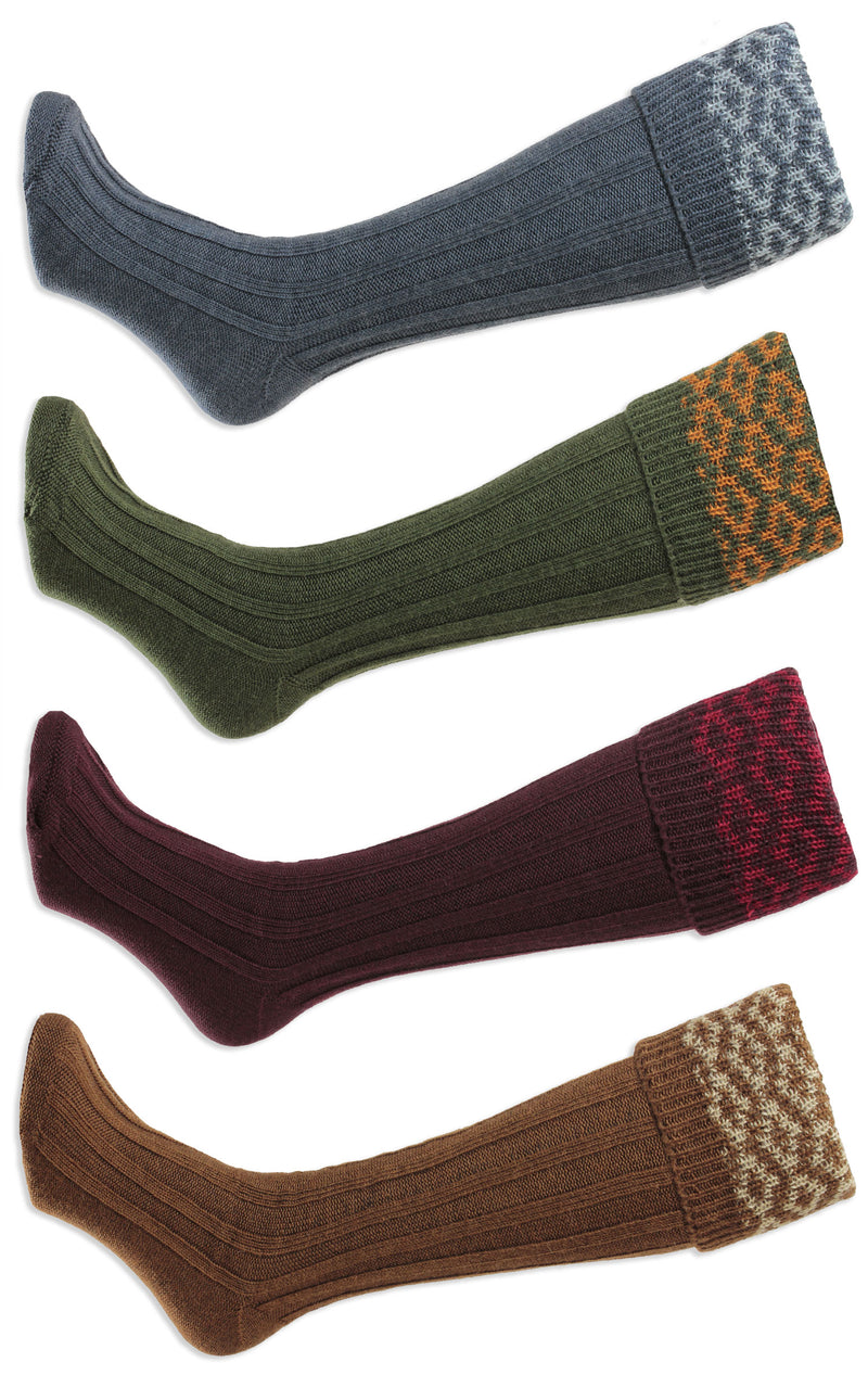 HJ Hall Cushion Foot Long Sock | Patterned Top Conker, Denim, Maroon, chestnut