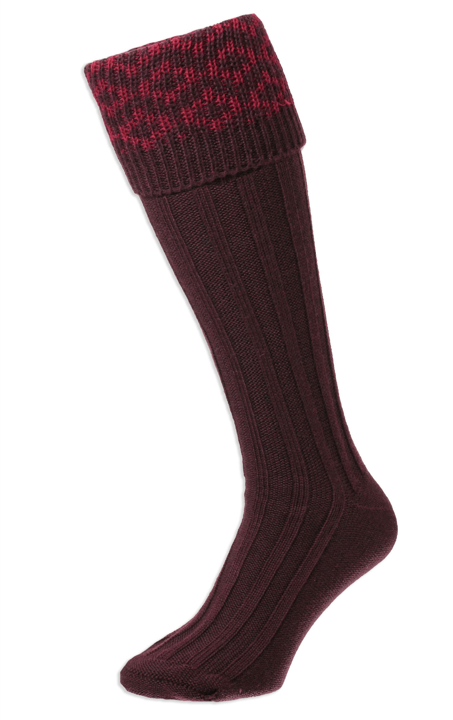 Maroon HJ Hall Cushion Foot Long Sock | Patterned Top