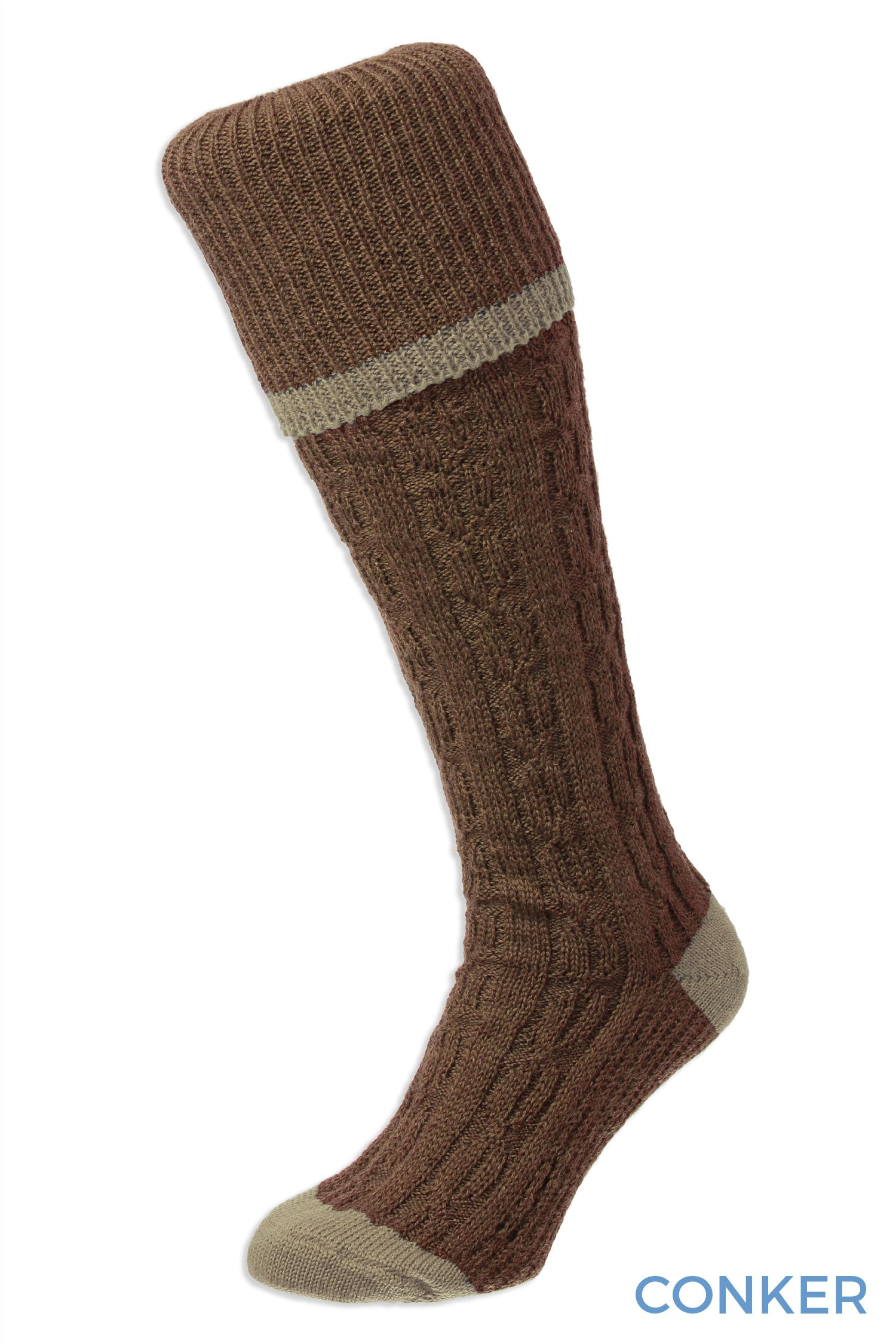 Conker HJ Hall Cushion Foot Long Sock | Cable Stripe