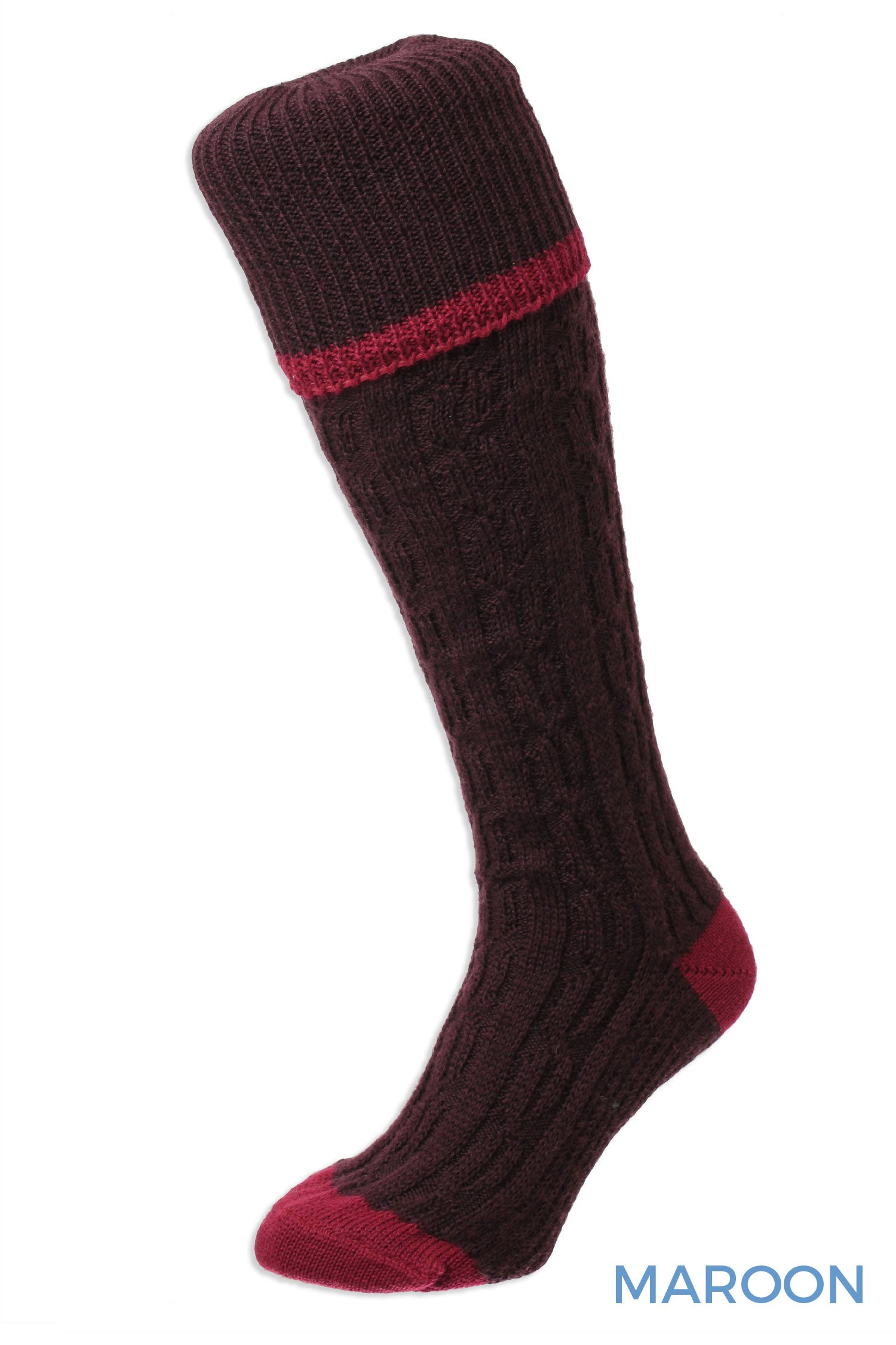 Maroon Cable Stripe Long Country Sock by HJ Hall