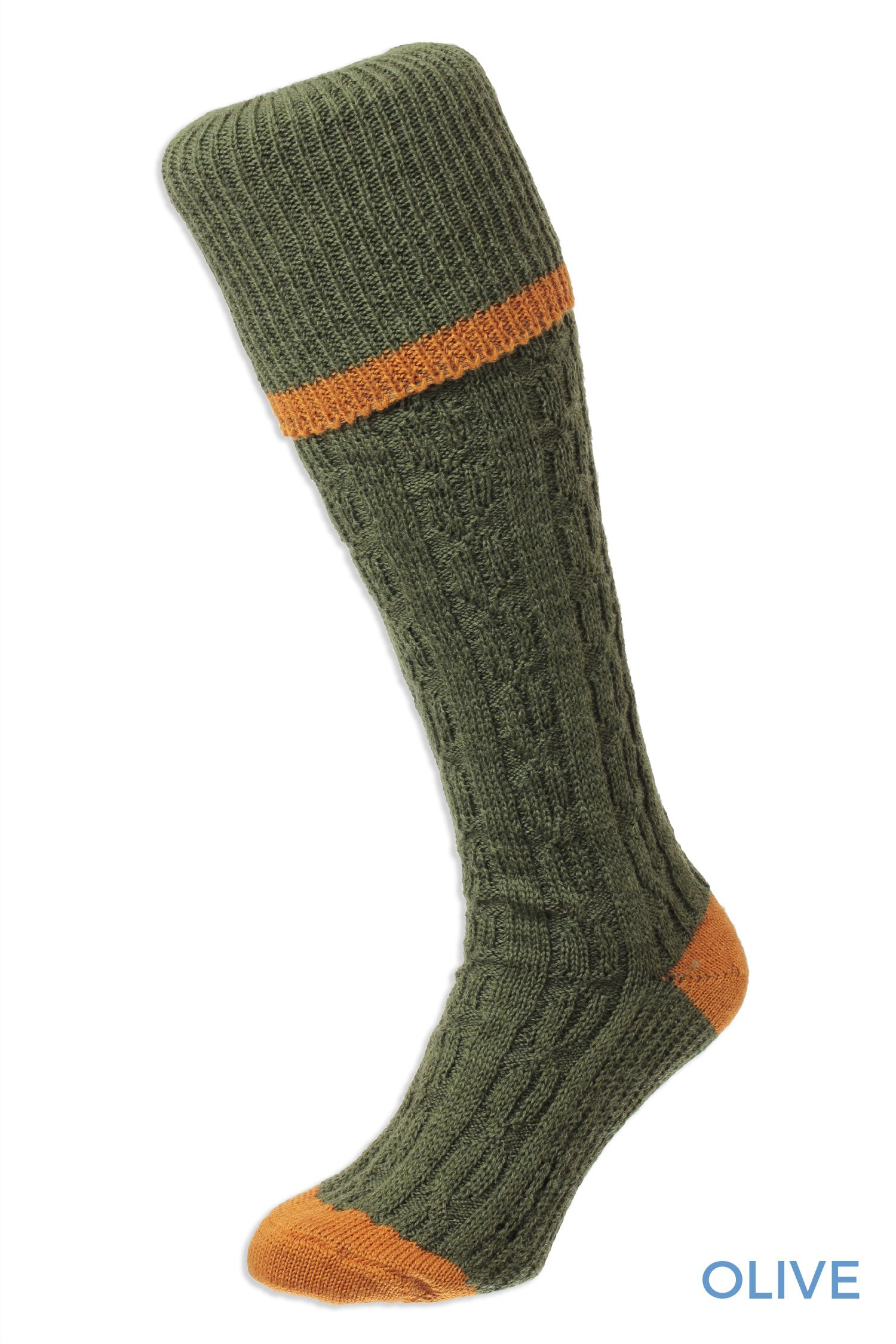 Greenolive and orange Cable Stripe Long Country Sock by HJ Hall