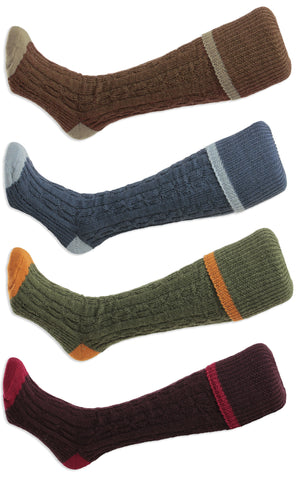 HJ Hall Cushion Foot Long Sock | Cable Stripe