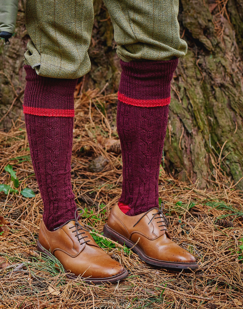 Marron shooting sock HJ Hall Cushion Foot Long Sock | Cable Stripe