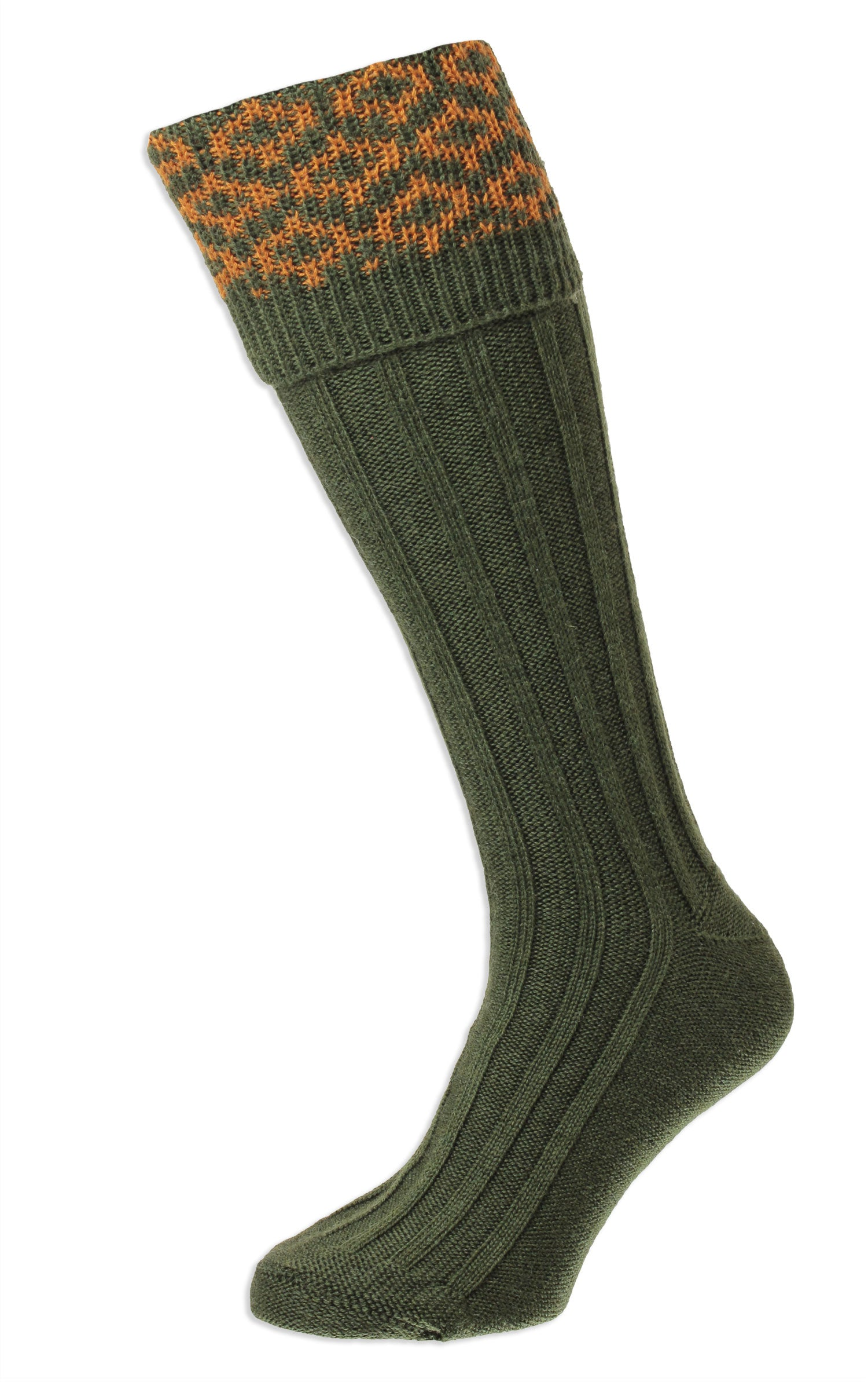 Olive HJ Hall Cushion Foot Long Sock | Patterned Top