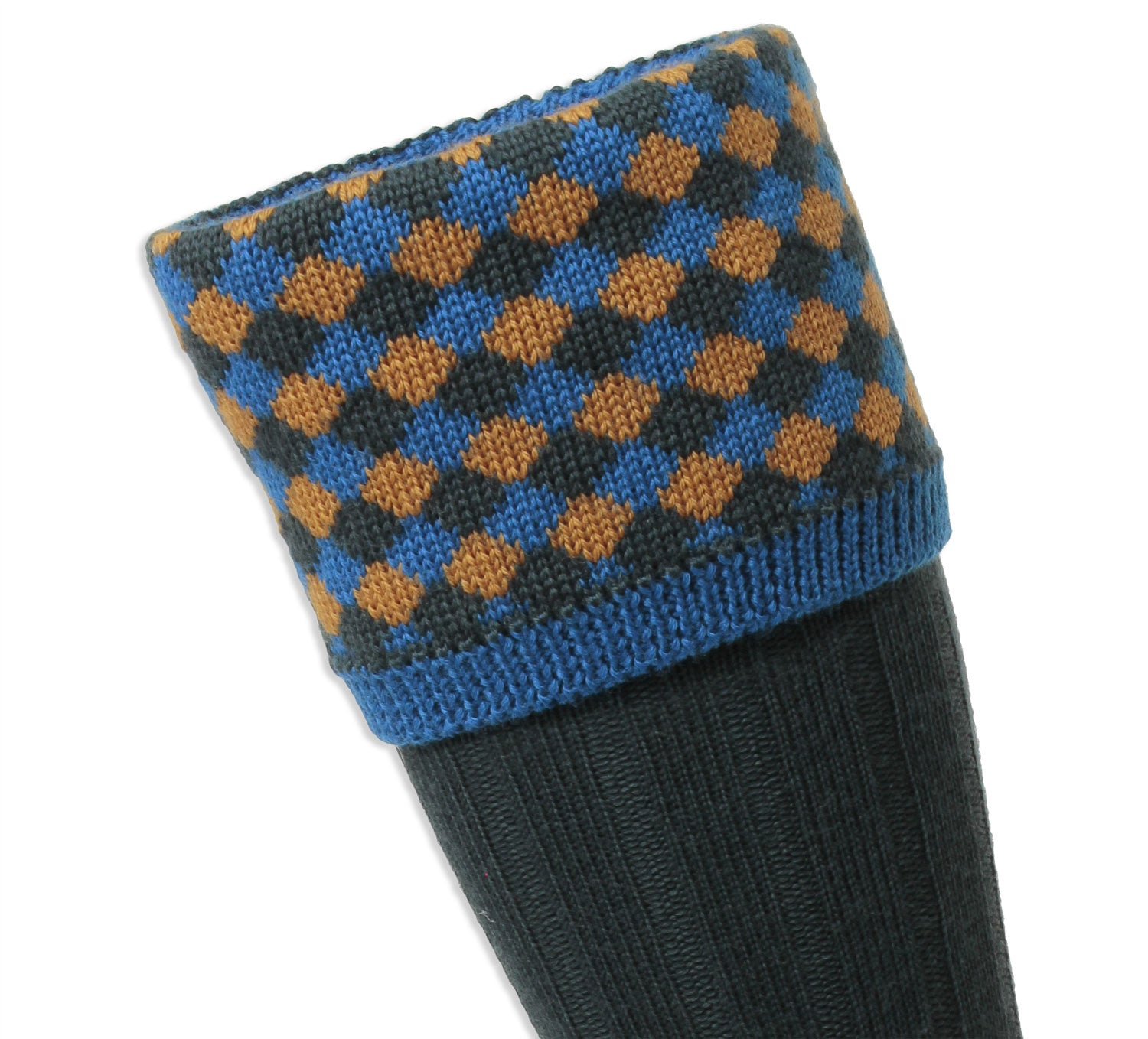 Blue gold and green check pattern sock top
