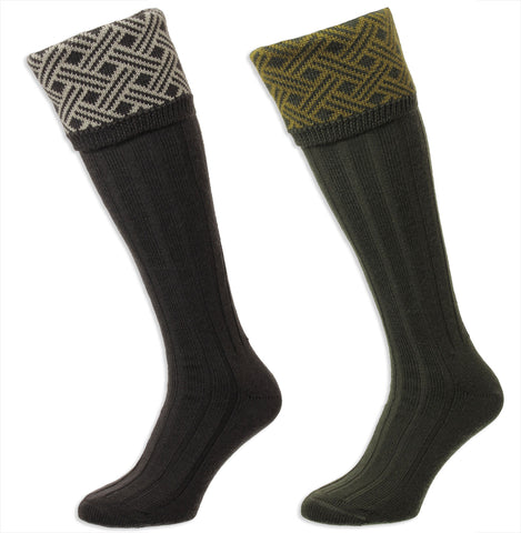 HJ Hall Langton Shooting Sock | Lattice pattern Top