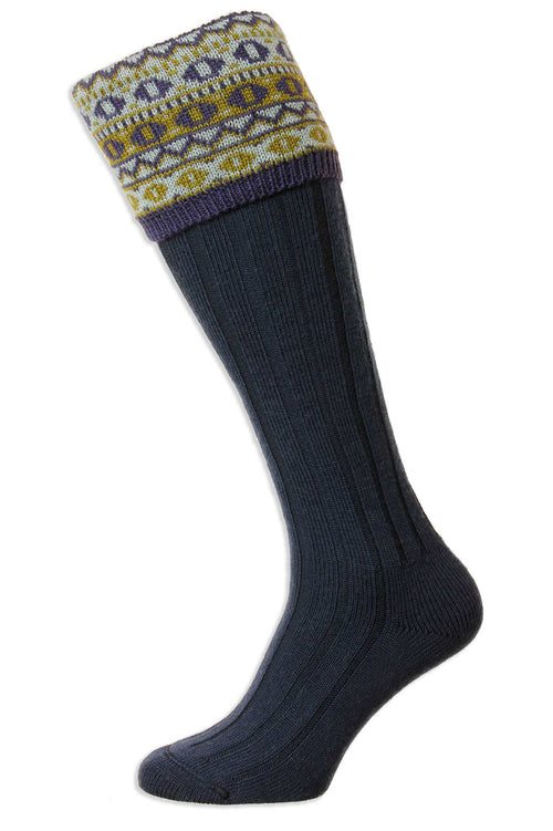 HJ Hall Foxley Ladies Long Sock | Fairisle Pattern Top