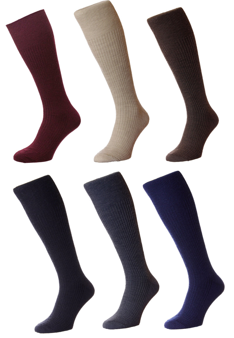 HJ Hall Immaculate Half Hose| Wool Rich | Black, Grey, Brown, Navy, Oatmeal