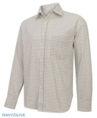 Navy Olive Hoggs of Fife Pure Cotton Tattersall Check Shirts