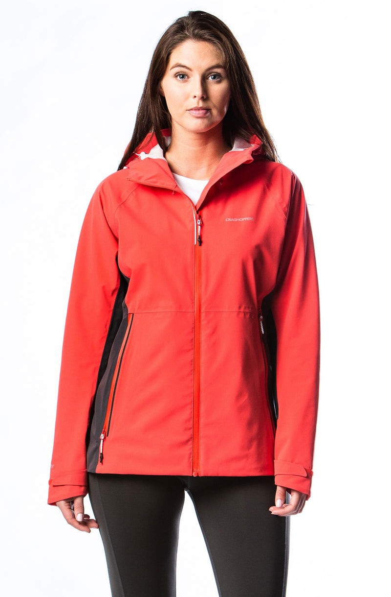 Red craghoppers women's waterproof coat
