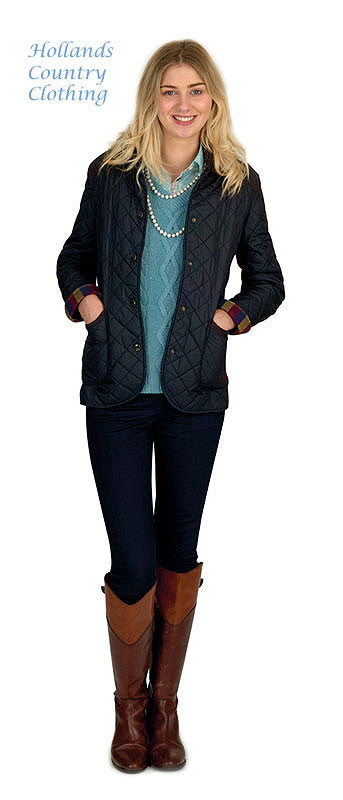 lady in boots wearing Jack Murphy Haley Ladies Diamond Quilted Jacket