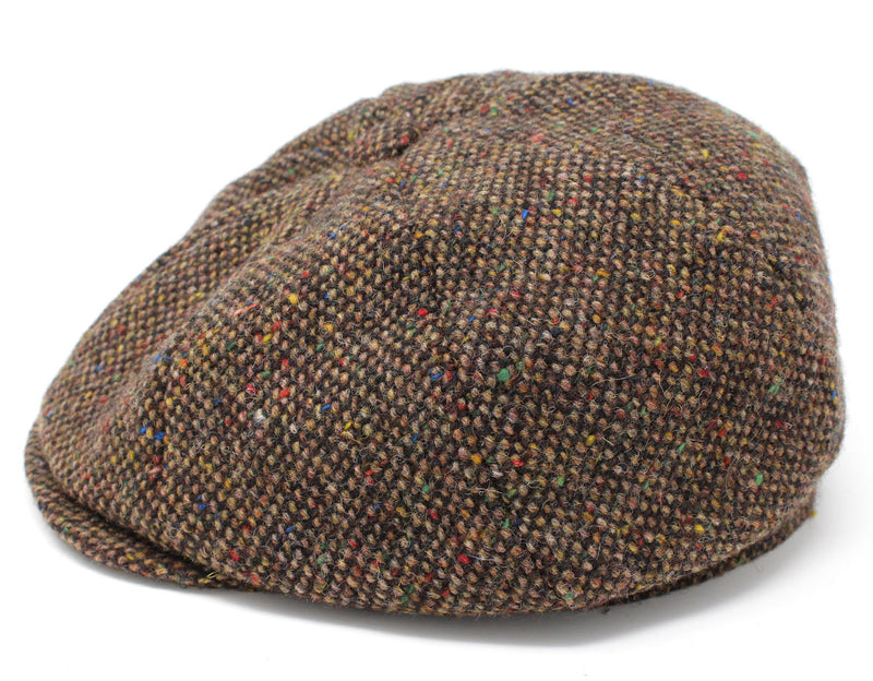 Hanna Tweed Eight Piece Newsboy Cap | Brown Salt and Pepper
