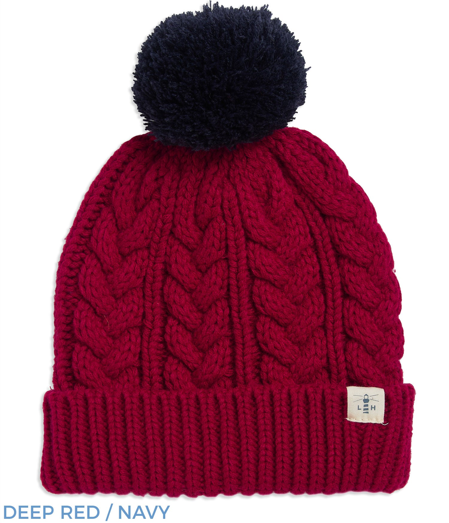 Deep Red  Navy Lighthouse Hannah Bobble Hat | Four Colours