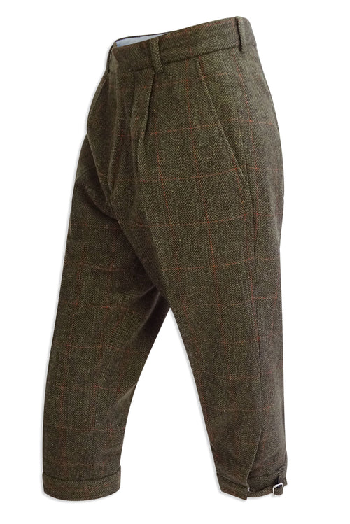 Hoggs of Fife Harewood Lambswool Tweed Breeks | Dark Green with Red Overcheck