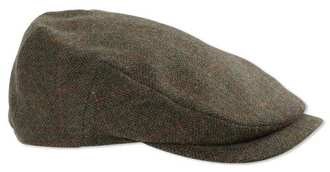 green tweed Hoggs of Fife Harewood Waterproof Tweed Flat Cap